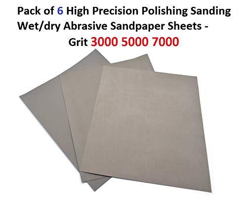 Pack of 6 High Precision Polishing Sanding Wet//Dry Abrasive Sandpaper Sheets Grit 3000 5000 7000