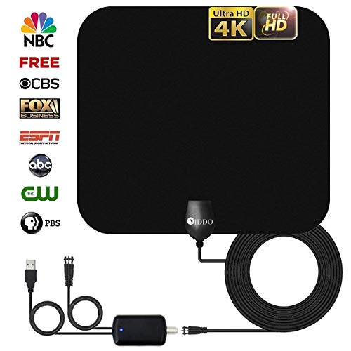 - Yiddo Professional TV Antenna-Indoor Digital HDTV Antennas Amplified 65-80 Mile Range 4K HD VHF UHF Freeview for Life Local Channels and Programming for All Type of Television(Black)