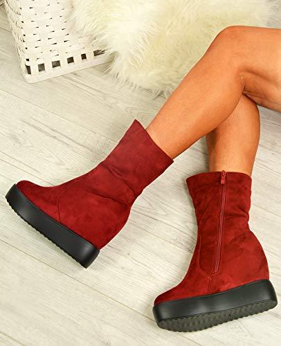 Compensées Cucu Sandales Fashion Vin Femme Rouge EpO6q1
