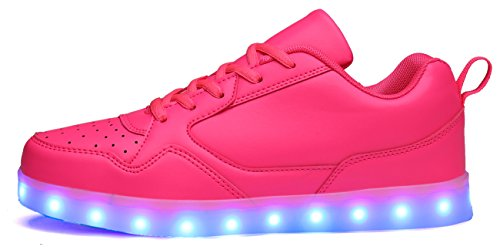 Mohem Shinynight Scarpe Alte Alte A Led Illuminano Le Sneakers Lampeggianti Caricabatterie Usb Pink009