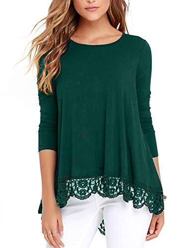 RAGEMALL Women's Tops Long Sleeve Lace Trim O-Neck A-Line Tunic Blouse Tops for Women Green - Lace Sleeve Trim Blouse