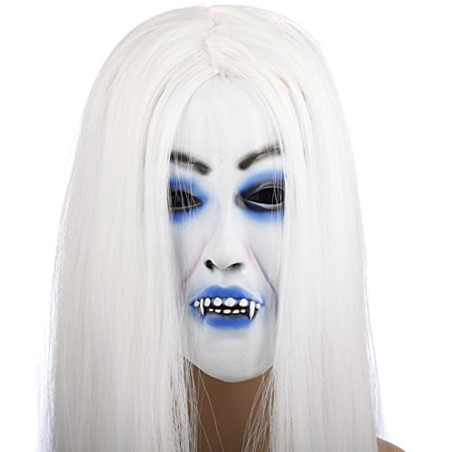 Halloween Horror Grimace Ghost Mask Scary Zombie Emulsion Skin with Hair (white (Deformed Zombie Mask)