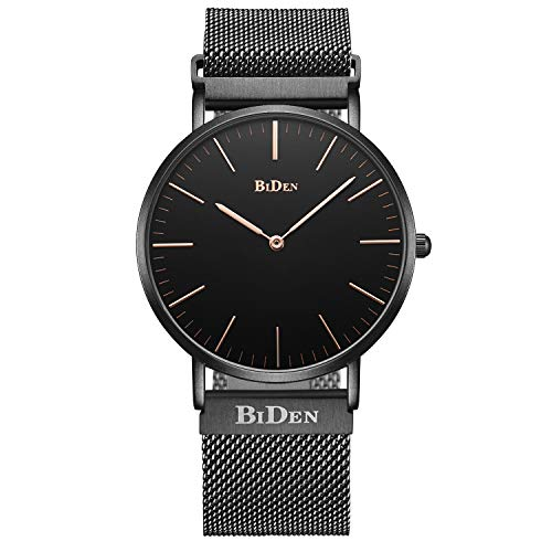 Men's Watch Ultra Thin Minimalist Waterproof Fashion Wrist Watches with Magnetic Stainless Steel Mesh Band Dress Casual Luxury Quartz Watch for Men