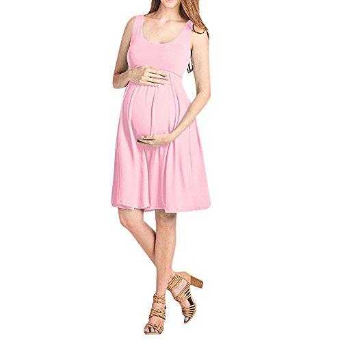 Women Pregnant Dress,Fashion Solid Maternity Nursing Tankdress Shirtdress Axchongery (Pink, XL) by Axchongery-Dress