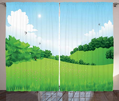 2019 Leona Cook Window Blackout Curtains Forest Hills with Scenic View Curtain 100 inch Length,Window Treatments for Kids Bedroom Curtain 2 Panels Set 84