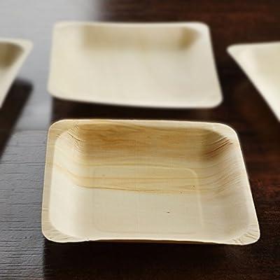 "100 Pcs - Eco-friendly Birchwood 4.5"" x 4.5"" Square Disposable Plates"