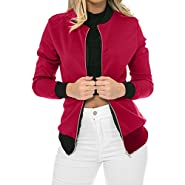 NUWFOR Women's Stand Collar Zip Up Solid Waterfall Bomber Jacket White