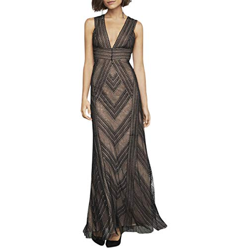 BCBG Max Azria Womens Chevron Stripe Embroidered Sleeveless Gown Black Size 0