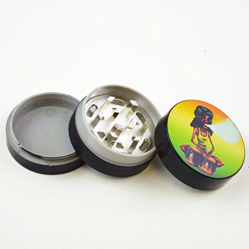 UNISHOW® Plastic Matte Lightweight Bob Marley Dry Herb Tobacco Jamaican Smoke Smoking Grinder (3 Parts with Pollen Catcher) (Drums) ()