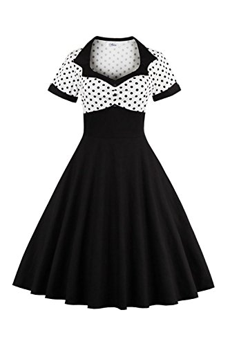 Yacun Women Vintage Dress Polka Dot Cocktail Swing Dress Rockabilly 1940s 50s Black XL -