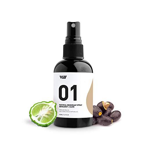 01 Natural Deodorant Spray, Aluminum Free Deodorant Spray, Organic Deodorant Spray for Men and Women, Non Toxic Deodorant (Bergamot and Elemi) - Way of Will