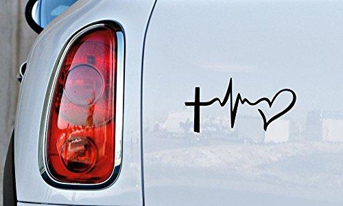 Cross Heartbeat Heart Car Vinyl Sticker Decal Bumper Sticker for Auto Cars Trucks Windshield Custom Walls Windows Ipad Macbook Laptop and More (Black)