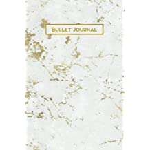 Bullet Journal: Gold Vein White Marble 160 Dot Grid Journaling Pages, 6 x 9 Blank Notebook with 1/4 inch Dotted Paper