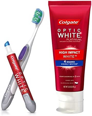 Colgate Optic White Toothpaste and Whitening Pen 2-in-1 Teeth Whitening Kit