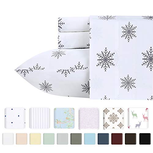 400tc 100% Cotton - 400 TC 100% Cotton Sheet Snowflakes Grey Queen Size Printed Sheet Set, 4 Pc Long-staple Combed Cotton Bedding Sheets For Bed, Breathable, Soft Sateen Weave Fits Mattress Upto 18'' Deep Pocket