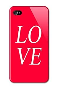 Case Fun Apple iPhone 4 / 4S Case - Vogue Version - 3D Full Wrap - Love Red with White Letters