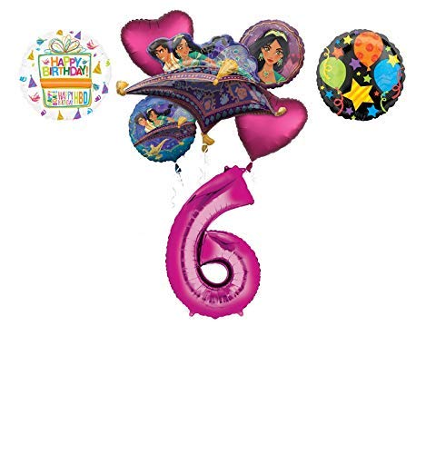 Mayflower Products Aladdin 6th Birthday Party Supplies Princess Jasmine Balloon Bouquet Decorations - Pink Number -