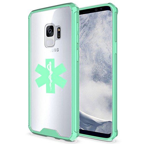 For Samsung Galaxy Clear Shockproof Bumper Case Hard Cover Star Of Life EMT (Mint For Samsung Galaxy S9+ (Plus))