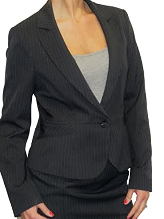 (5084) Smart Tailored Suit Style Jacket Pinstripe Grey (4)