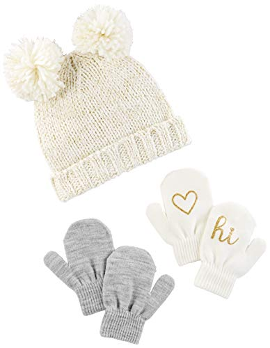 (Simple Joys by Carter's Baby Girls' Toddler Hat and Mitten Set, Ivory/Gold,)