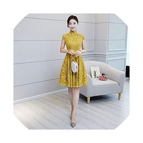 (HappyWe 2019 New Lace Skirt Princess Dress Improved Cheongsam Small Fresh Daily Generation,2046 Yellow,XXL)