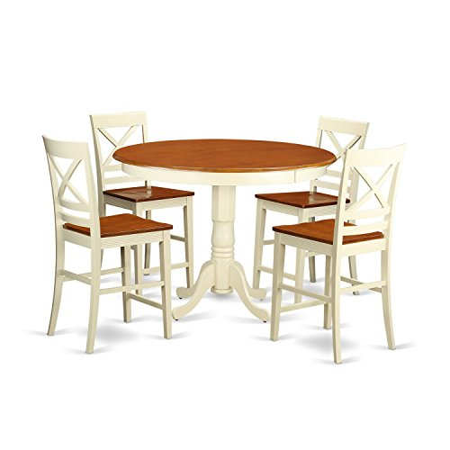 East West Furniture TRQU5-WHI-W 5 Piece Counter Height Pub Table and 4 Kitchen Bar Stool Set