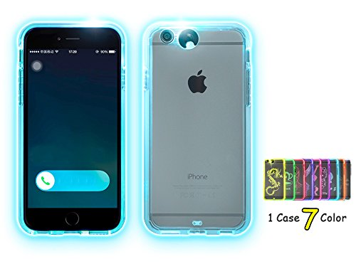 Feceir Apple iPhone 5/5S/SE Case - LED Flash Case 7 Colors in 1 Case, Creative LED Light up Incoming Call Flash Cover Anti-Scratch Clear Back Case (5/5S/SE) (Phone 5 Accessories compare prices)