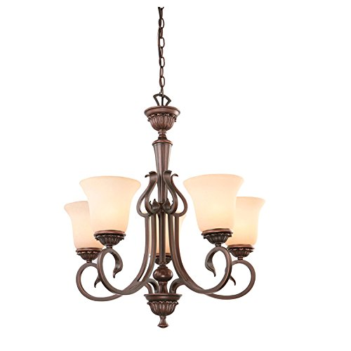 Lake Traditional Chandelier - Colton Lakes 25.25-in 5-Light Oil-Rubbed Bronze Mediterranean Tinted Glass Shaded Chandelier