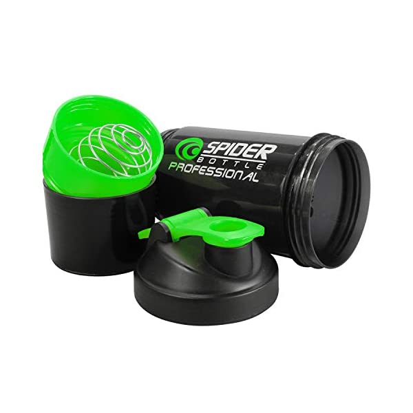Ketsaal Spider Protein Shaker Bottle with 2 Storage Extra Compartment for Gym-500ml 2021 July Leak proof, storage container, pill container, water bottle plus shaker for preparation and saving time Have multiple compartments for storing multiple food items. The upper green-colored compartment is for storing nutritional supplements, vitamins, fruits and so on while the bottom compartment holds 70 grams of powder. Blender ball wire whisk mixes as you shake