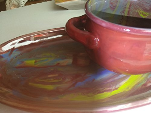 Set of 4 hand painted soup bowls with sandwich/salad plate & Best Deals on Soup Bowls And Sandwich Plates Products