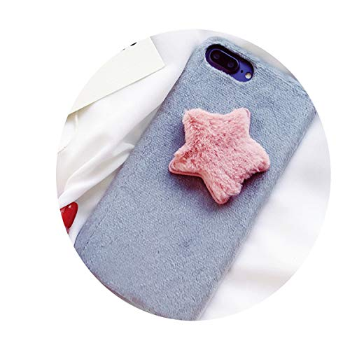 Lovely Plush Star for iphonex 7/8plusf Anti Fall Protective Sleeve 6S Hard Shell,Gray,for 6Plus 6sPlus
