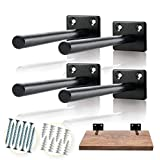 Solid Steel Floating Shelf Bracket (4 pcs) - Blind Shelf Supports - Hidden Brackets for Floating Wood Shelves - Invisible Support for Any Type of Shelf – Screws and Wall Plugs Included