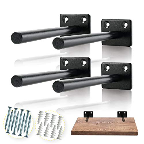 - Solid Steel Floating Shelf Bracket (4 pcs) - Blind Shelf Supports - Hidden Brackets for Floating Wood Shelves - Invisible Support for Any Type of Shelf – Screws and Wall Plugs Included