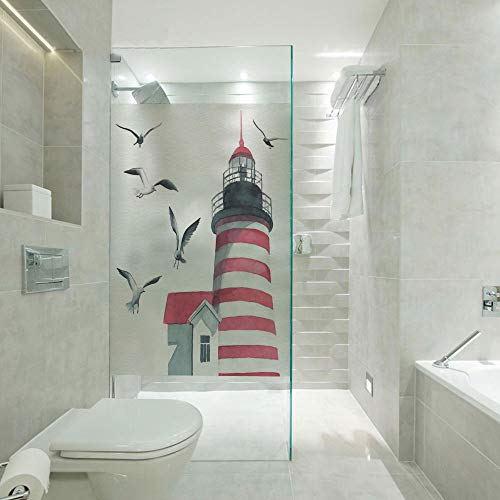 RWNFA Privacy Window Film Frosted Glass Film,Lighthouse and Seagulls on The Beach Navigational Aid on Seaside Waterways Art,Customizable Size,Suitable for Bathroom,Door,Glass etc,Red Grey White