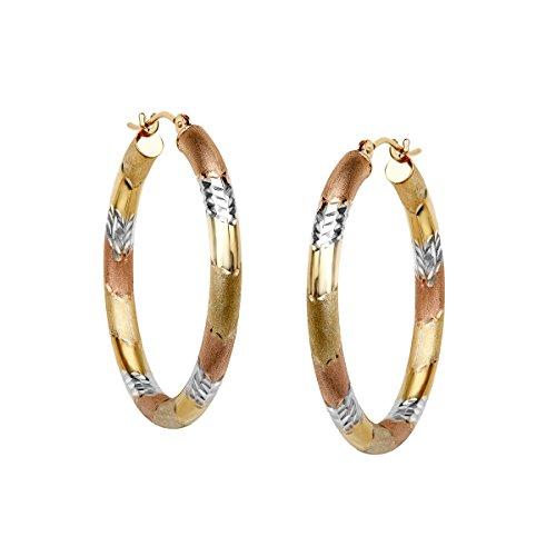 Richline Three Stripe Hoop Earrings in 10K Two Tone Gold-...