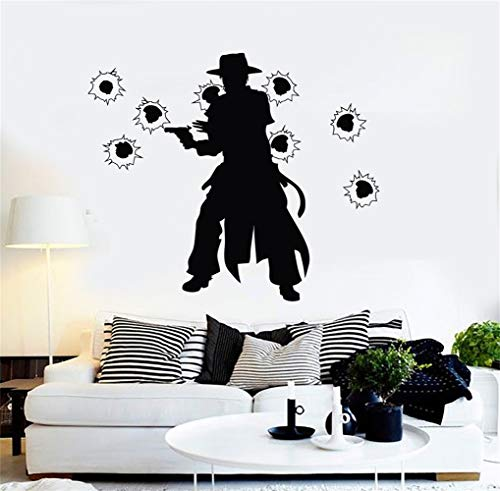 futuka Vinyl Wall Decals Quotes Sayings Words Art Decor Lettering Vinyl Wall Art Cowboy with Gun Wild West]()