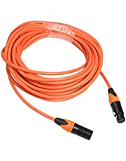 sharprepublic XLR Male Female to 3 Pin Extension Cable for Stereo Audio Microphone 1/1.8/3 / 5m - Orange 5m
