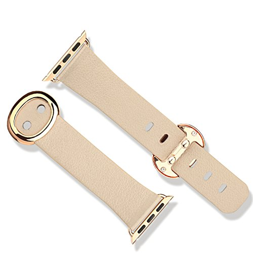 Baseus Genuine Leather Watch Band for Apple Watch Sport 38Mm (Khaki)