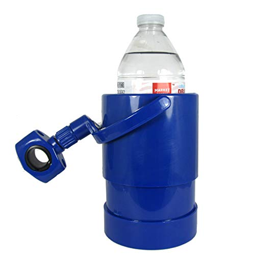 Liquid Caddy Blue Beverage Cup Holder, Attaches Almost Anywhere, Works on Boats, Bikes, Ice Shacks, Lawn Chairs, ATV, Golf Bag, Camping, Canoe, Treestand, for Water, Coffee, Beer, - Drink Holder Bag Golf