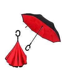 Redlemon Paraguas Invertido con Doble Refuerzo, Resistente a Vientos y Lluvias Fuertes, con Mango Ergonómico