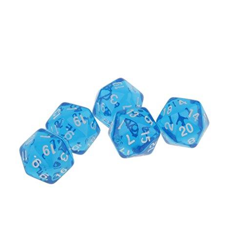 Juwel Muti Seitig Würfel Satz Von 5 D20 D & D Trpg Warhammer Spiele Lila - blau, medium