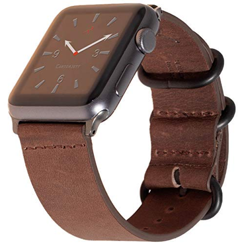 Carterjett Compatible Apple Watch Band 44mm 42mm Leather iWatch Band Replacement Strap Crazy Horse Genuine Leather Gray NATO Hardware Compatible Apple Watch Series 4 3 2 1 (42 44 M/L Vintage Brown) ()