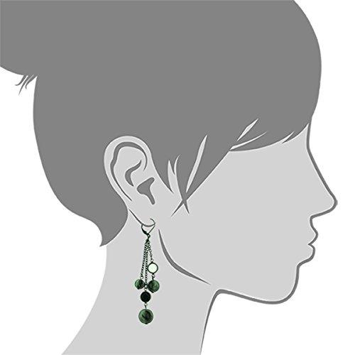 46910b1034be10 Amazon.com: 1928 Jewelry Black Crystal Chanel Bead Multi Chain Drop Earrings:  Jewelry