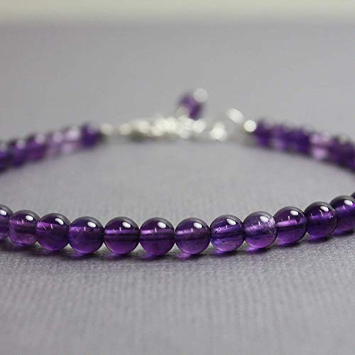 Amethyst Bracelet, Small 4mm Beads, Adjustable 7 to 8 ()