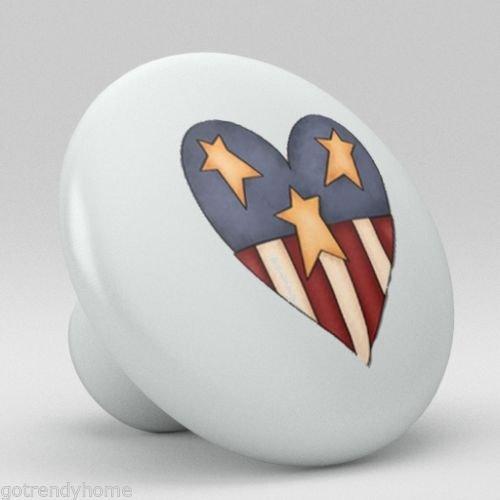 Cute Ameraican Heart Ceramic Knobs Nursery Pulls Kitchen Drawer Dresser 982 by gotrendyhome