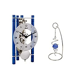 Qwirly 2-Item Bundle: Lakin Mechanical Skeleton Table Clock by Hermle 23025Q70721 and Desktop Rotating Spinner - Room Decor Set for Birthday, Holidays and a Great for Any Occasion - Blue/Silver