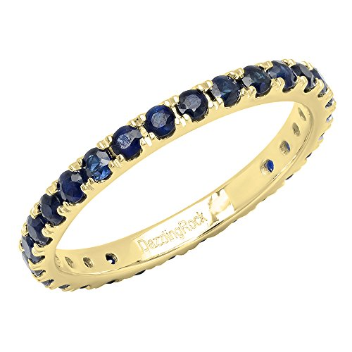 Dazzlingrock Collection 10K Round Blue Sapphire Ladies Eternity Wedding Anniversary Stackable Ring Band, Yellow Gold, Size 6 ()
