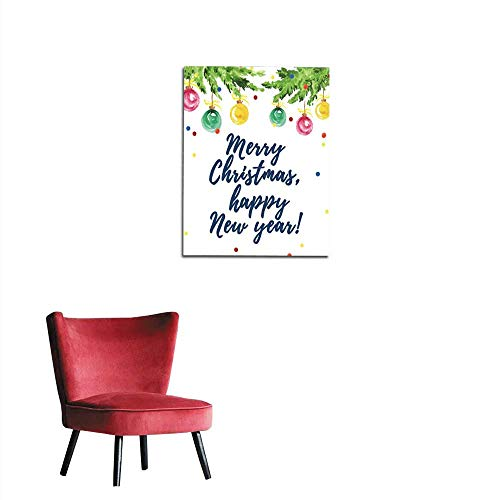 - Photographic Wallpaper Watercolor artistic hand drawn christmas card design with fir tree decoration balls confetti & lettering greeting isolated on white background Happy New year & Mermural 20