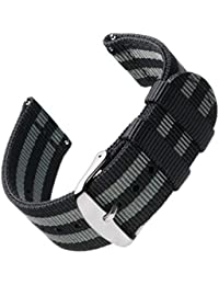 Archer Watch Straps - Premium Nylon Quick Release Replacement Watch Bands for Men and Women, Watches and Smartwatches (Black/Gray, 20mm)