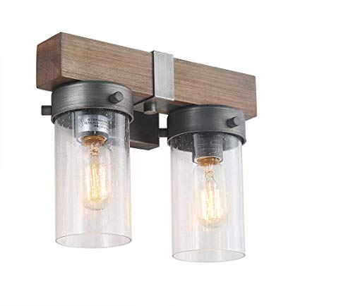 Cylindrical Shade - LOG BARN 2 Lights Retro Wooden Wall Sconce in Real Distressed Wood and Brushed Antique Silver Finish with Cylindrical Bubbled Glass Shades, 11.8